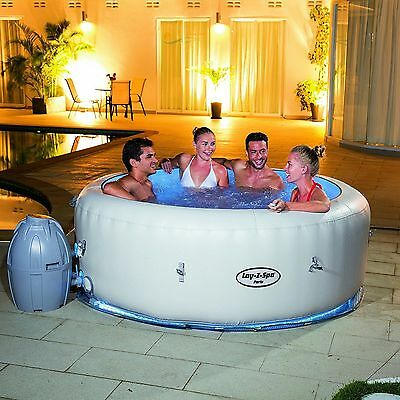 Lay-Z-Spa Paris Air Jet Inflatable Hot Tub Spa with LED Lights - For 4-6 Person