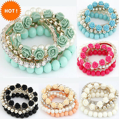 Boho Fashion Pearl Rose Flower Multilayer Beads Stretch Charm Bracelet & Bangle
