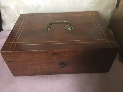 Elegant 19th Century Mahogany (?) Box With Banded Detail and Ornate Brass Handle