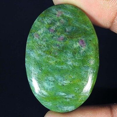 41.30Cts. A+ NATURAL RARE RUBY IN FUCHSITE OVAL CABOCHON LOOSE GEMSTONE