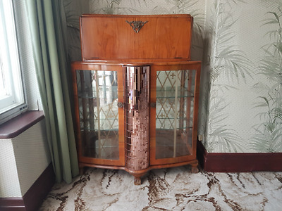 Mirrored Cocktail Cabinet Antique Art Deco 1920's