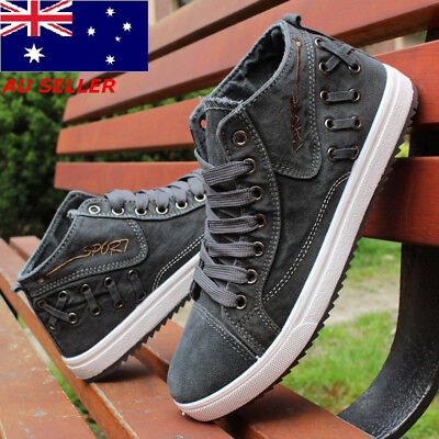 AU Men's High top Sneakers Canvas Casual Breathable England Recreational Shoes
