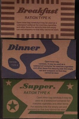 Set Of Late War Ww2 Us K Ration Boxes (Repro)