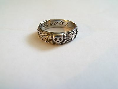 German Army Totenkopf Skull Ring, Engraved and dated.
