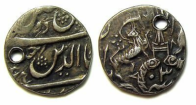 India, 1/8th Rupee Princely States. Awadh. Ghazi-Ud-Din Haidar, Holed but Rare