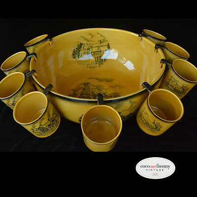 *Vintage 30's/40's Crown Devon Large Punch Bowl with Hanging Cups Olde England