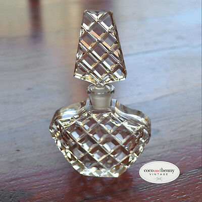 *Vintage 50's Bohemia Cut Glass Perfume Bottle with Tall Stopper