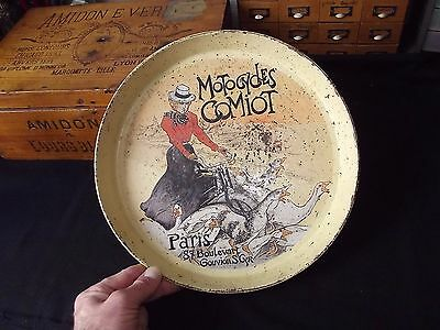 Antique French Tin Lithographied Serving Tray Advertising Comiot Motorcycle 1900