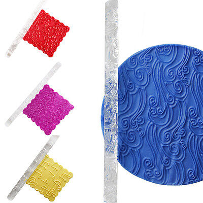 4 Shapes Textured Embossing Acrylic Rolling Pin Cake Decorating Fondant Tools