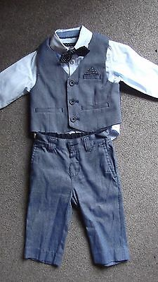 Boys Blue 4 piece suit set- Waistcoat, shirt, trousers & dickie bow (3-4 years)