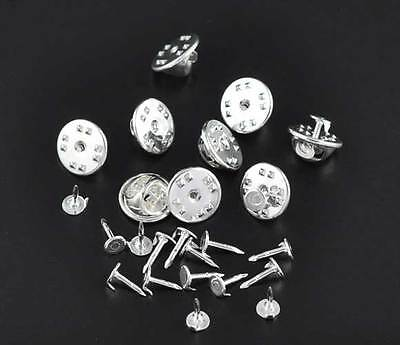 10 SILVER PLATED TIE TAC PAD & TIE SQUEEZE CLUTCH BLANKS SETS 11.5x6mm 8x1.2mm