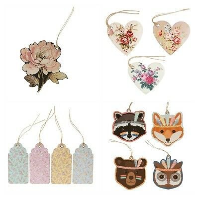 Gift Luggage Tags Grace Floral, Rose Heart, Fox Owl Bear Badger, French Rose