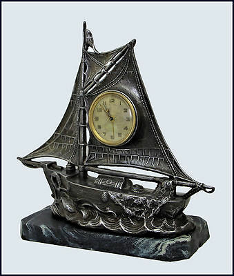 Antique Art Deco Spelter Boat Alarm Clock 1920 On Marble Base