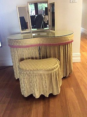 VINTAGE  1950's kidney shaped dressing table with tri fold mirror