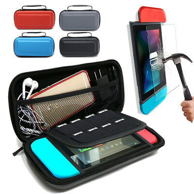 For Nintendo Switch Travel Bag Carry Case + Tempered Glass Screen Protector Film