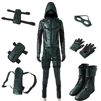 Hot Green Arrow Season 5 Oliver Queen Cosplay Costume Full Set All Size Outfits