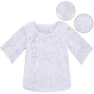Baby Kid Girls Princess Lace T-Shirt Top Floral Short Sleeve Party Casual Blouse