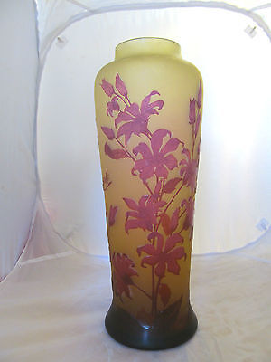 collectible huge old tip galle cameo glass vase.