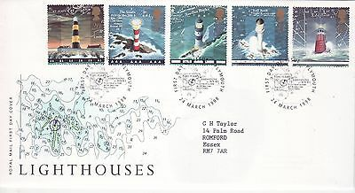 GB Stamps First Day Cover Lighthouses, RNLI, Storm, Boat SHS Sea Chart 1998
