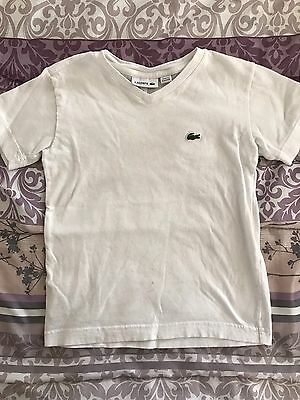 Little Boys Lacoste White Shirt With Croc Short Sleeve