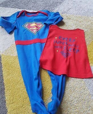 6-9 months superman asda sleepsuit with cape