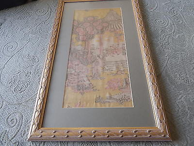 Framed And Glazed Chinese Garden Stylised Silk  Picture  Circa 1930 Or Earlier