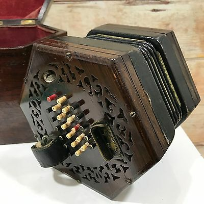 LACHENAL & CO LONDON Vintage Rosewood 48 Key Concertina Boxed Antique 13073
