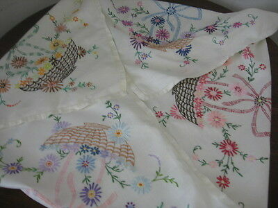 Vintage Hand Embroidered Linen Tablecloth Baskets Of Flowers & Bows