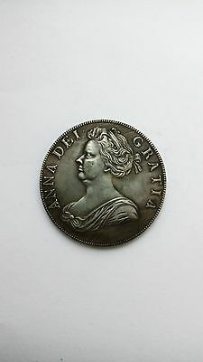 Copy of 1706 Anna roses &  plumes half crown silver coin