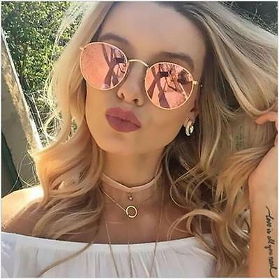 HOT Pink Round Metal Retro Aviator Gold Holographic Mirror Lens Sunglasses NEW
