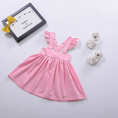 Baby Kids Girls Princess Cotton Dress Wings Sleeve Tutu Party Casual Dress Skirt