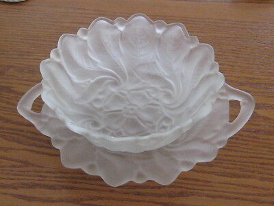 Vintage Indiana Glass satin frosted wildrose flower serving bowl and tray