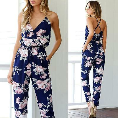 Women Backless Jumpsuit Sleeveless V-Neck Floral Playsuit Party Trousers New