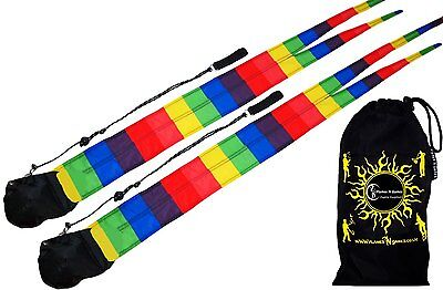 RAINBOW Pro Fabric Poi - Long Tail Practice Poi + Travel Bag. Spinning Poi Set N