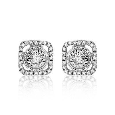 925 Sterling Silver 1/4 ct Round Real Diamond Square Halo Stud Earrings
