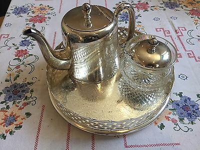 Silver Plated Tea/Coffee Pot, tray And Sugar.