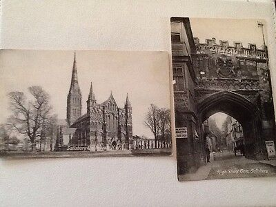 Two Vintage Postcards Salisbury Cathedral