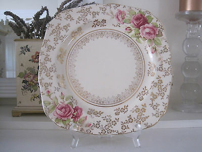 Gorgeous H & K Tunstall Pink Roses And Floral Gilt Cake Plate