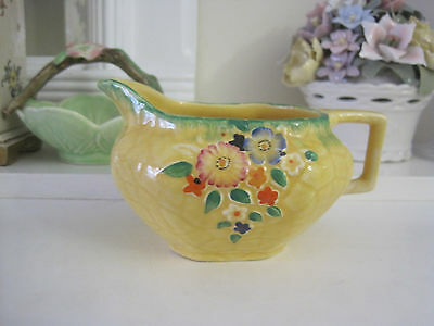 Lovely Vintage Crown Devon Yellow Garden Path Creamer Jug