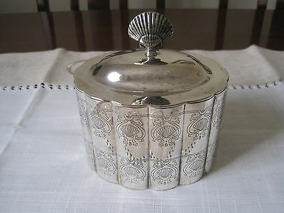 Vintage Silverplated Jewellery Or Trinket Box With Clam Shell Handle