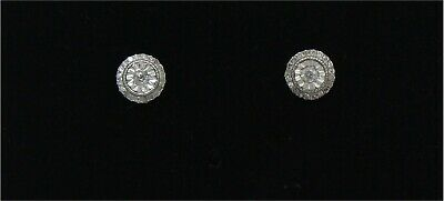 Special Offer !!!. 1/4CT Natural Diamond Halo Stud Earrings, 925 Sterling Silver