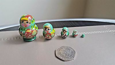 Russian tiny hand-painted MINI nesting doll, 5 dolls set