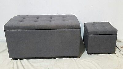 Ottoman storage two piece chaise longue and pouffe footstool box