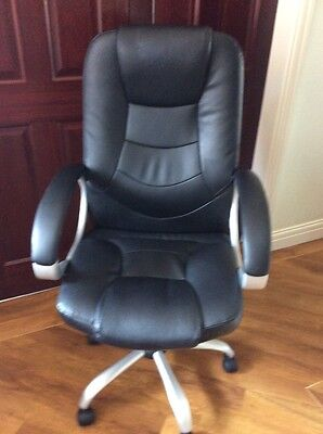 office desk chair black leather look