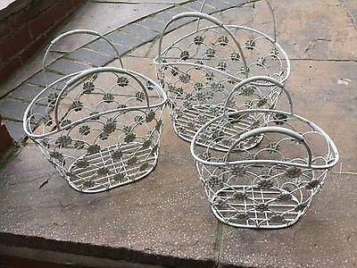 SET of THREE METAL BASKETS FOR GARDEN/HOME - VINTAGE/RETRO FINISH