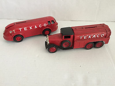 Lot of 2 ERTL Texaco Bank Vehicles - Diamond Doodle Bug 1994 & Tanker 1990