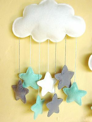 Handmade mint and grey felt cloud baby mobile Movil bebe fieltro nube de Ibiza