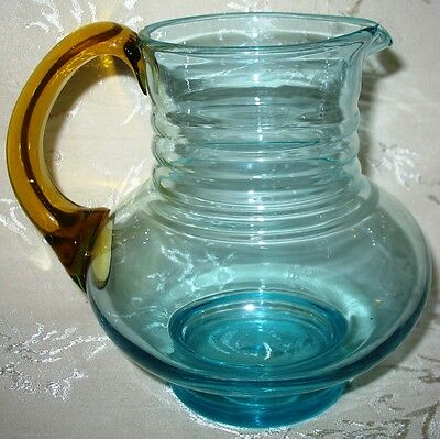 Antique Steuben Art Glass Water Jug in 2 Colors - Unsigned
