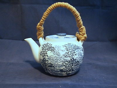 Antique Japanese Teapot - Hand Painted Blue Bamboo on Porcelain