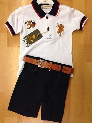 Cute Boys Polo Short Set White Top and Navy Blue Shorts With Belt Age 1, 2, 3 &4